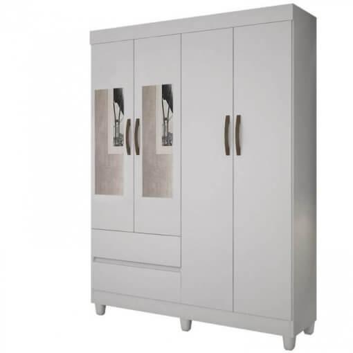 Roupeiro Porto 4 Portas Com Espelho Salleto Branco