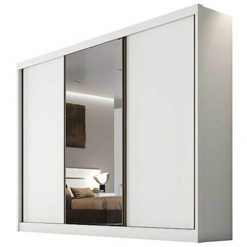 Roupeiro Sollo 1 porta espelhada MDF Novo Horizonte branco