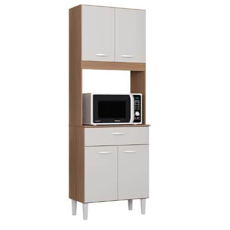Armario Kit Cozinha Kelly Com 4 Portas e 1 Gaveta capuccino off white