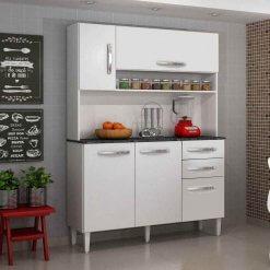 Armario de Cozinha 5 Portas Napoles Salleto Moveis branco