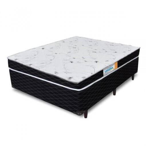 Base Box Casal Votobox Preta com Colchao Casal Roma Umaflex