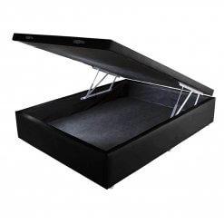 Base Cama Box Bau Casal com Borda 42x138x188 Preta