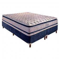 Colchao QUEEN de Molas Pocket Blue com Base Box Bipartida Queen