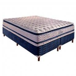 Colchao QUEEN de Molas Pocket Blue com Base Box Bipartida Queen