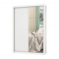 Guarda Roupa 2 Portas com Espelho Roma Branco
