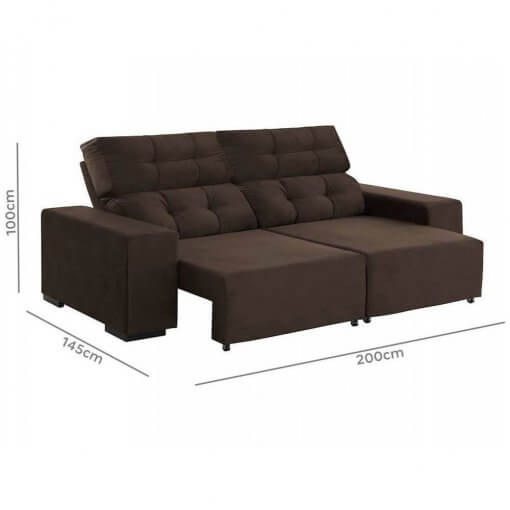 Sofa Retratil e Reclinavel Logan 2m marrom medidas