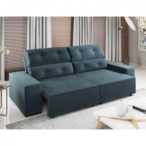 Sofa Retratil e Reclinavel Logan 2m marrom petroleo