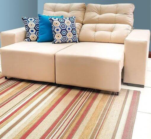 Sofa Retratil e Reclinavel Logan Tecido Suede 2m Viero Pastel