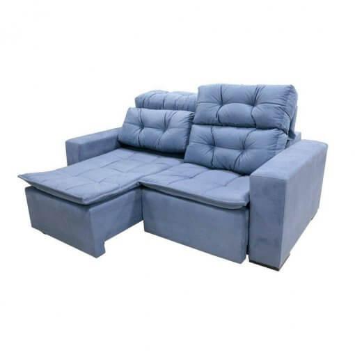 Sofa Sochi Retratil E Reclinavel de 2 Lugares com 180cm e Tecido Suede Azul