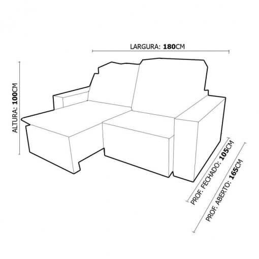 Sofa Sochi Retratil E Reclinavel de 2 Lugares com 180cm e Tecido Suede Medidas