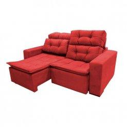 Sofa Sochi Retratil E Reclinavel de 2 Lugares com 180cm e Tecido Suede Vermelho