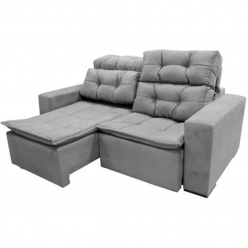 Sofa Sochi Retratil e Reclinavel 180cm Tecido Suede cinza