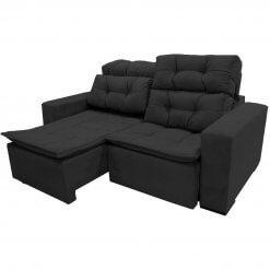 Sofa Sochi Retratil e Reclinavel 180cm Tecido Suede preto