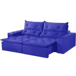 Sofa Toronto Retratil E Reclinavel Suede 210cm azul