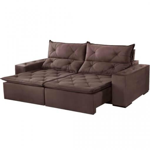 Sofa Toronto Retratil E Reclinavel Suede 210cm marrom