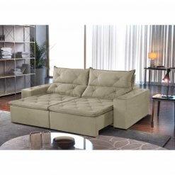 Sofa Toronto Retratil E Reclinavel Tecido Suede 210cm bege