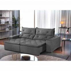 Sofa Toronto Retratil E Reclinavel Tecido Suede 210cm cinza