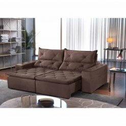 Sofa Toronto Retratil E Reclinavel Tecido Suede 210cm marrom