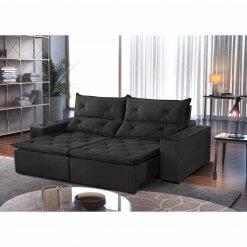 Sofa Toronto Retratil E Reclinavel Tecido Suede 210cm preto