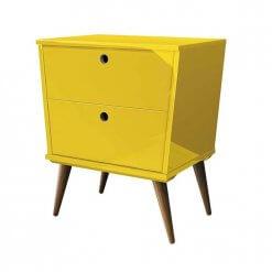 Mesa de Cabeceira Dream 2 Gavetas EDN Moveis amarelo