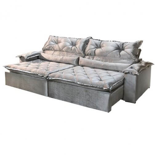 Sofa 3 Lugares Retratil e Reclinavel agatha Imperio Tecido Suede 2M Cinza