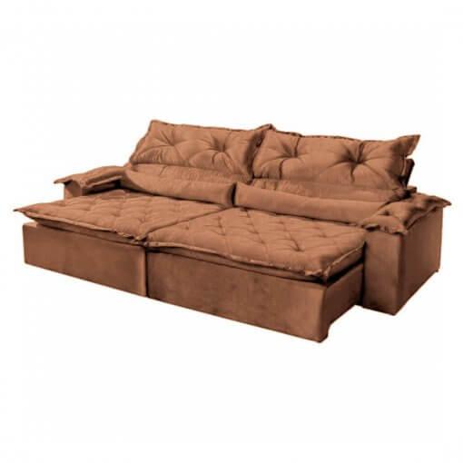 Sofa 3 Lugares Retratil e Reclinavel agatha Imperio Tecido Suede 2M cobre