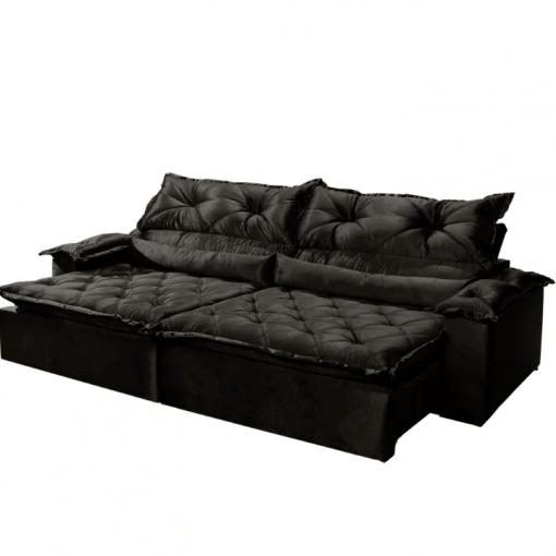 Sofa 3 Lugares Retratil e Reclinavel agatha Imperio Tecido Suede 2M preto