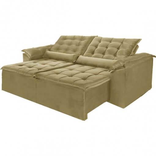 Sofa Madri Retratil e Reclinavel 230cm marrom bege