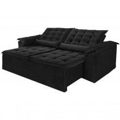 Sofa Madri Retratil e Reclinavel 230cm preto