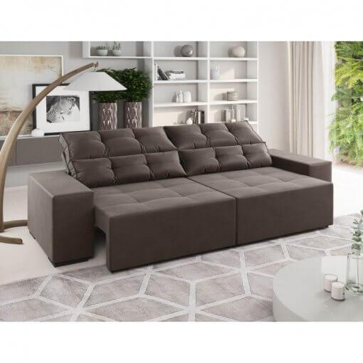 Sofa Retratil e Reclinavel Bella 230cm Viero Cafe