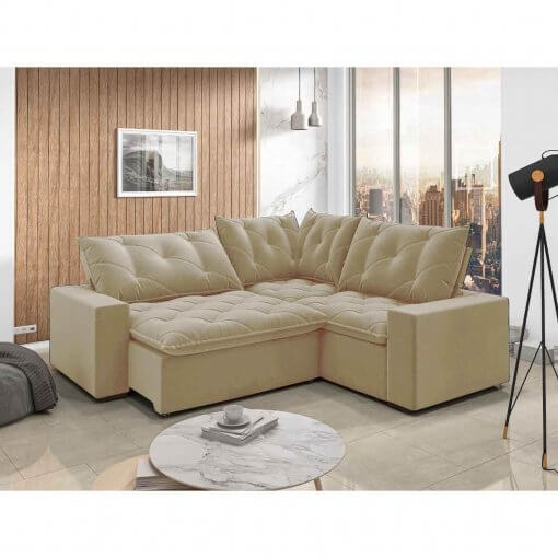 Sofa retratil e reclinavel de canto Londres bege
