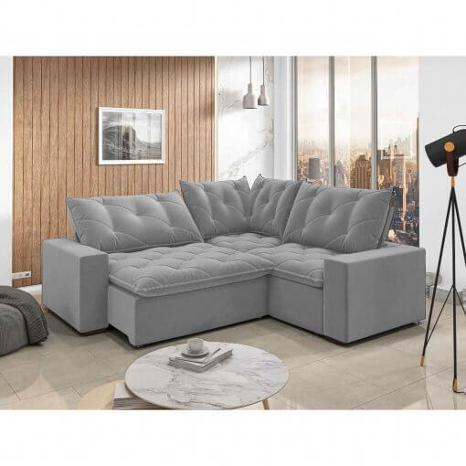 Sofa retratil e reclinavel de canto Londres cinza