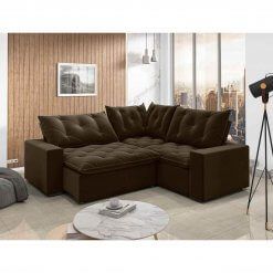 Sofa retratil e reclinavel de canto Londres marrom