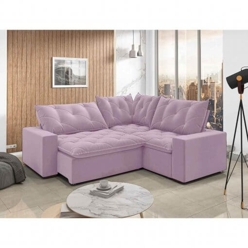 Sofa retratil e reclinavel de canto Londres rose
