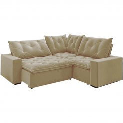 Sofa retratil reclinavel de canto Londres bege