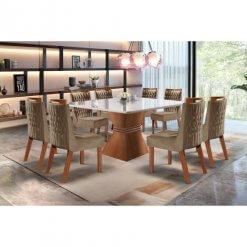 Conjunto Mesa de Jantar Cronos 135×135 8 Cadeiras Athenas– LJ Moveis