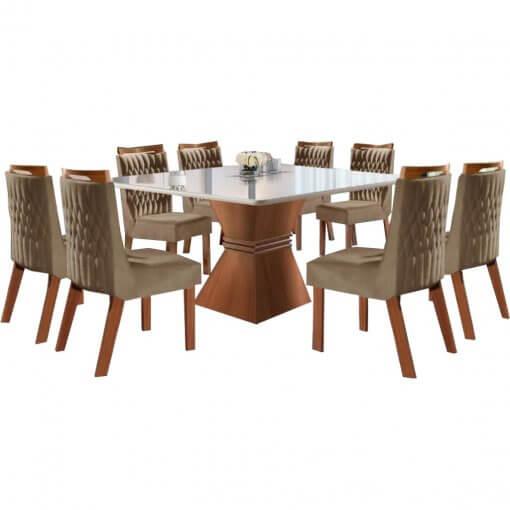 Conjunto Mesa de Jantar Cronos 135×135 8 Cadeiras Athenas