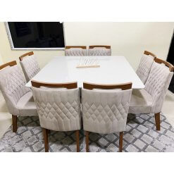 Conjunto Sala de Jantar Mesa Cronos com 8 Cadeiras Atena Foto Real