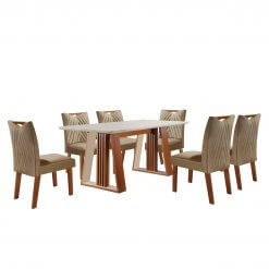 Conjunto Sala de Jantar Mesa Deli com 6 Cadeiras Sparta