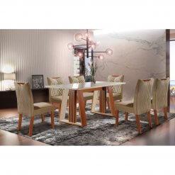 Conjunto Sala de Jantar Mesa Deli com 6 Cadeiras Sparta Castanho Premio