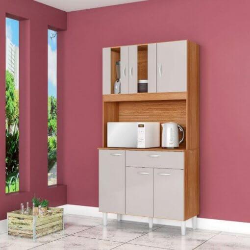 Kit Cozinha Compacta 6 Portas 1 Gaveta Magda Poquema dAMASCO