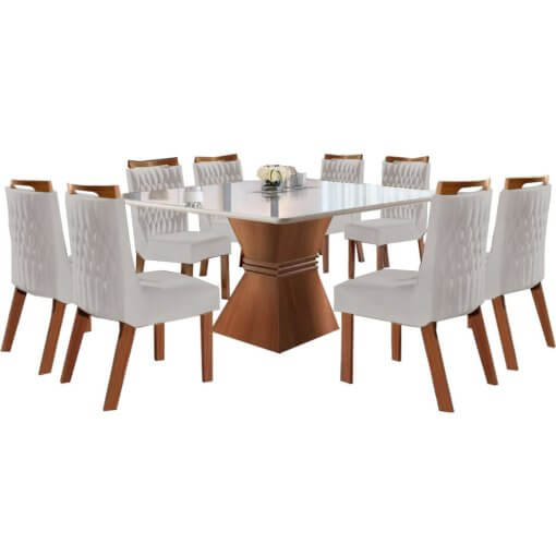 Mesa de Jantar Cronos 135×135 8 Cadeiras Athenas