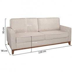 Sofa 3 Lugares Pes Madeira Almofadas Soltas Dubai Living Dimensoes