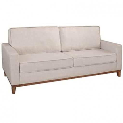 Sofa 3 Lugares Pes Madeira Almofadas Soltas Dubai Living Siena Moveis