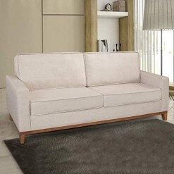 Sofa 3 Lugares Pes Madeira Almofadas Soltas Dubai Living Siena Moveis Bege
