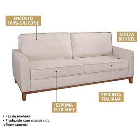 Sofa 3 Lugares Pes Madeira Almofadas Soltas Dubai Living Siena Moveis Detalhes