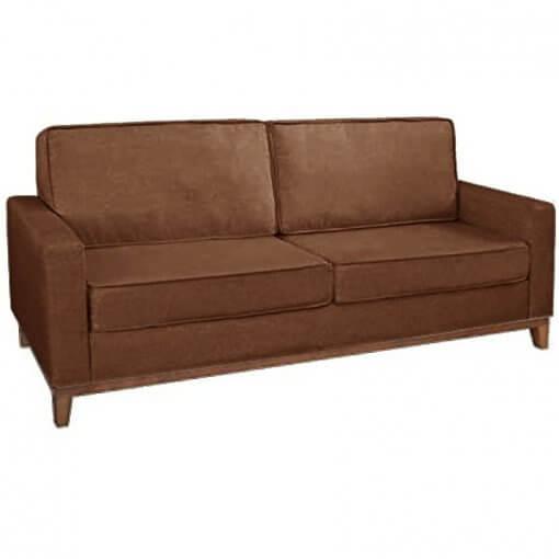 Sofa 3 Lugares Pes Madeira Almofadas Soltas Dubai Living Siena Moveis Marrom