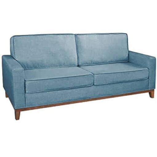 Sofa 3 Lugares Pes Madeira Almofadas Soltas Dubai Living Siena Moveis azul