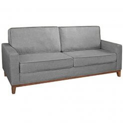 Sofa 3 Lugares Pes Madeira Almofadas Soltas Dubai Living Siena Moveis cinza