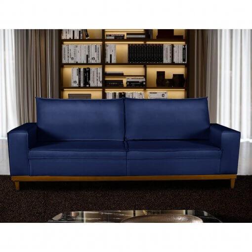 Sofa 4 Lugares Pes de Madeira Dubai Living Siena cor Azul